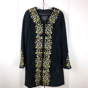 Avanti Black Embroidered Suede C…